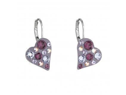 Náušnice bižuterie se Swarovski krystaly fialové srdce 51043.3