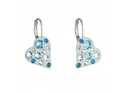 Náušnice bižuterie se Swarovski krystaly modré srdce 51043.3 tyrkys