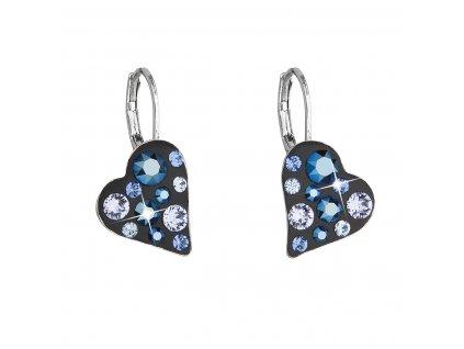 Náušnice bižuterie se Swarovski krystaly modré srdce 51043.5 metalic blue