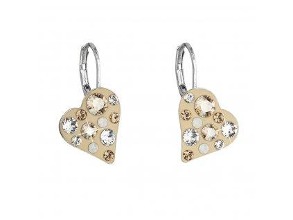 Náušnice bižuterie se Swarovski krystaly hnědé srdce 51043.3