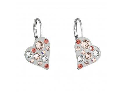 Náušnice bižuterie se Swarovski krystaly oranžové srdce 51043.5