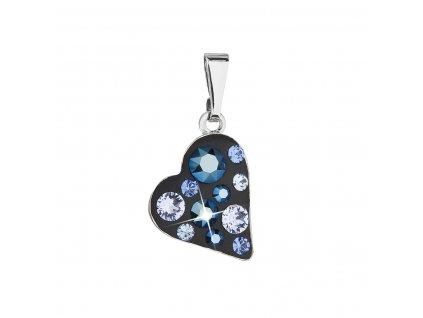 Přívěsek bižuterie se Swarovski krystaly modré srdce 54027.5 metalic blue