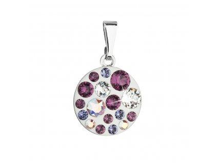Přívěsek bižuterie se Swarovski krystaly fialový kulatý 54023.3 amethyst