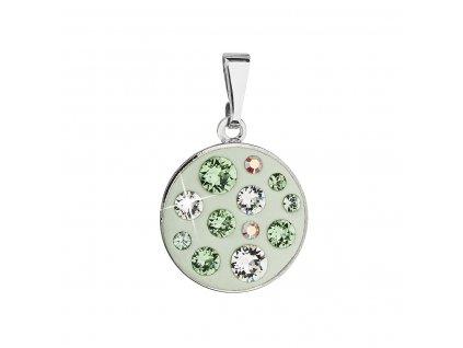 Přívěsek bižuterie se Swarovski krystaly zelený kulatý 54024.3