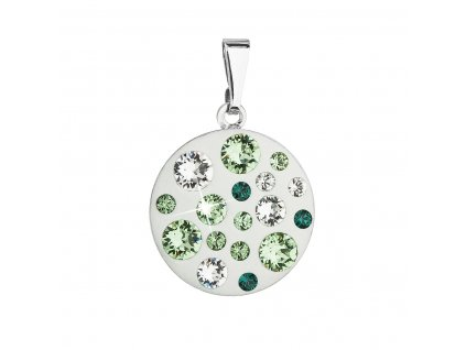 Přívěsek bižuterie se Swarovski krystaly zelený kulatý 54022.3