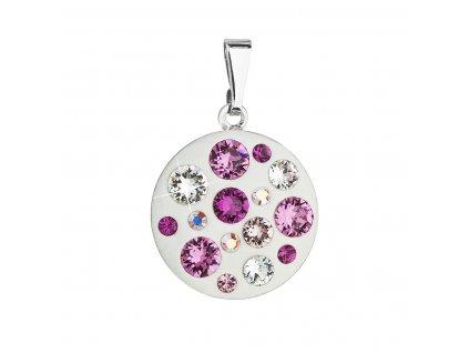 Přívěsek bižuterie se Swarovski krystaly růžový kulatý 54022.3