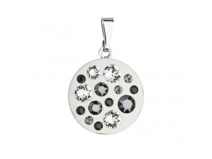 Přívěsek bižuterie se Swarovski krystaly šedý kulatý 54022.3