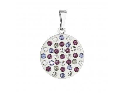 Přívěsek bižuterie se Swarovski krystaly fialový kulatý 54021.3