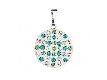 Přívěsek bižuterie se Swarovski krystaly zelený kulatý 54021.3