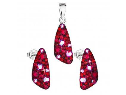 Sada šperků s krystaly Swarovski náušnice a přívěsek červený 39167.3 cherry