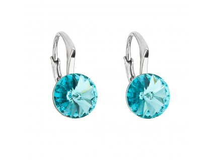 Stříbrné náušnice visací s krystaly Swarovski modré kulaté 31229.3 light turquoise