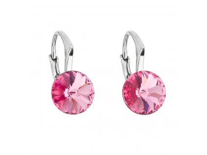Stříbrné náušnice visací s krystaly Swarovski růžové kulaté 31229.3