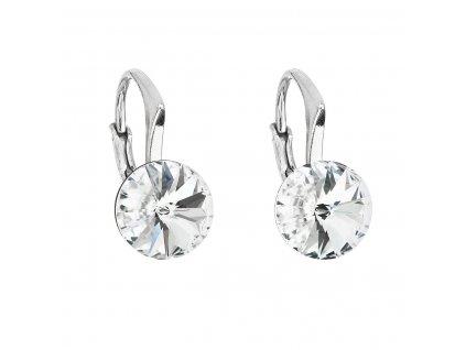 Stříbrné náušnice visací s krystaly Swarovski bílé kulaté 31229.1