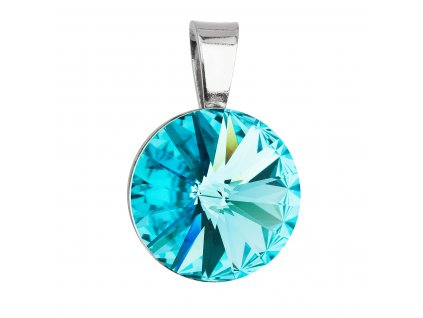 Stříbrný přívěsek s krystaly Swarovski modrý kulatý-rivoli 34112.3 light turquoise