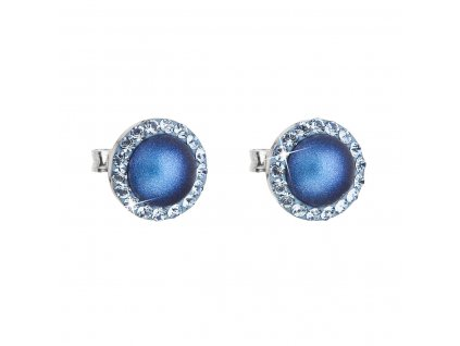 Stříbrné náušnice pecka s krystaly Swarovski a tmavěmodrou matnou perlou kulaté 31214.3