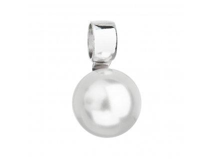 Stříbrný přívěsek s bílou kulatou Swarovski perlou 34212.1