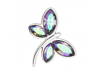 Stříbrný přívěsek s krystaly Swarovski fialová vážka 34211.5