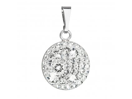 Stříbrný přívěsek s krystaly Swarovski bílý kulatý 34225.1