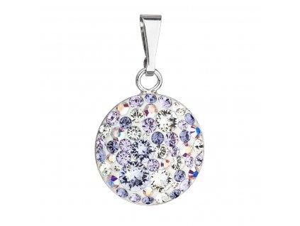 Stříbrný přívěsek s krystaly Swarovski fialový kulatý 34225.3 violet