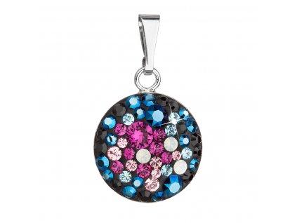 Stříbrný přívěsek s krystaly Swarovski mix barev kulatý 34225.3 galaxy