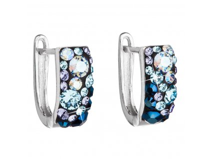 Stříbrné náušnice visací s krystaly Swarovski modrý půlkruh 31123.3 blue style