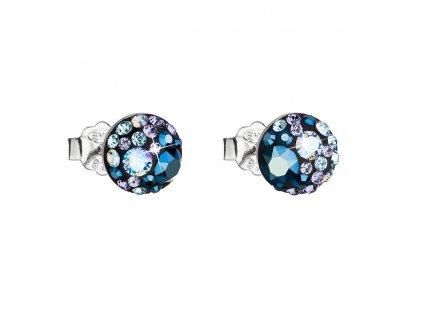 Stříbrné náušnice pecka s krystaly Swarovski modré kulaté 31136.3 blue style
