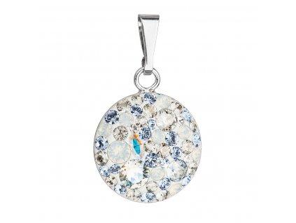 Stříbrný přívěsek s krystaly Swarovski modrý kulatý 34225.3 light sapphire