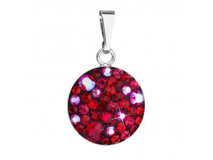Stříbrný přívěsek s krystaly Swarovski červený kulatý 34225.3 cherry