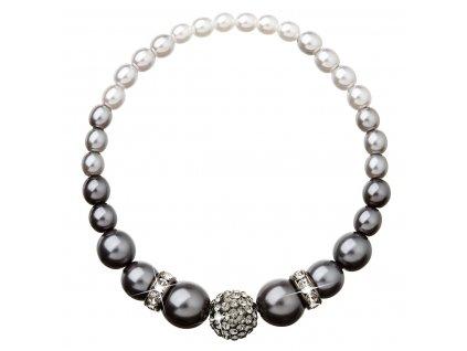 Perlový náramek šedý s krystaly Swarovski 33062.3