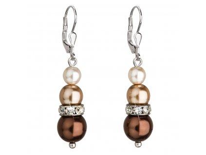 Stříbrné náušnice visací se syntetickými perlami a krystaly Swarovski hnědé kulaté 31150.3