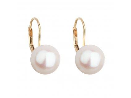 Zlaté 14 karátové náušnice visací s bílou říční perlou 921010.1