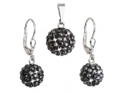Sada šperků s krystaly Swarovski náušnice a přívěsek černé kulaté 39072.5