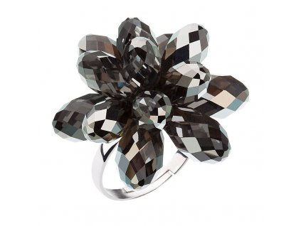 Stříbrný prsten s krystaly Swarovski šedá kytička 35023.5