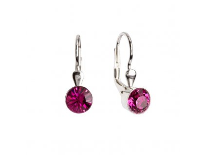 Stříbrné náušnice visací s krystaly růžové kulaté 31112.3 fuchsia