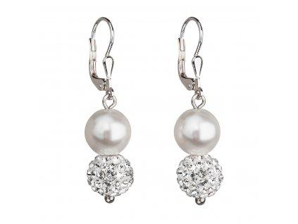 Stříbrné náušnice visací se syntetickými perlami a krystaly Swarovski bílé kulaté 31155.1