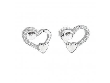 Stříbrné náušnice pecka se zirkonem bílé srdce 11092.1