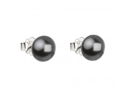 Stříbrné náušnice pecka s perlou Swarovski šedé kulaté 31142.3 grey