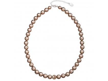 Perlový náhrdelník hnědý s krystaly Swarovski 32011.3