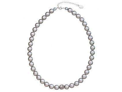 Perlový náhrdelník šedý s krystaly Swarovski 32011.3