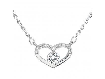 Stříbrný náhrdelník se zirkonem bílé srdce 12008.1