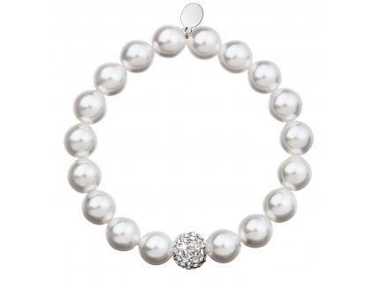 Perlový náramek bílý s krystaly Swarovski 33074.1