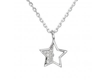 Stříbrný náhrdelník se zirkonem bílá hvězdička 12024.1