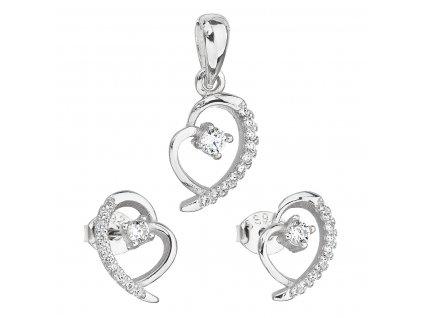 Sada šperků se zirkonem náušnice a přívěsek bílé srdce 19003.1