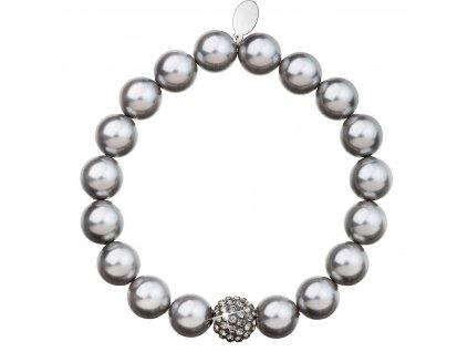 Perlový náramek šedý s krystaly Swarovski 33074.3