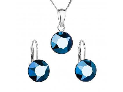 Sada šperků s krystaly Swarovski náušnice, řetízek a přívěsek modré kulaté 39140.5 metalic blue