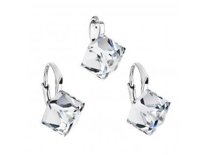 Sada šperků s krystaly Swarovski náušnice a přívěsek bílá kostička 39111.1