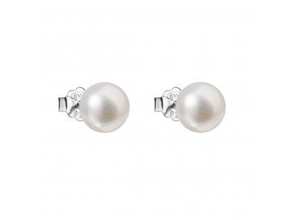 Stříbrné náušnice pecky s bílou říční perlou 21042.1