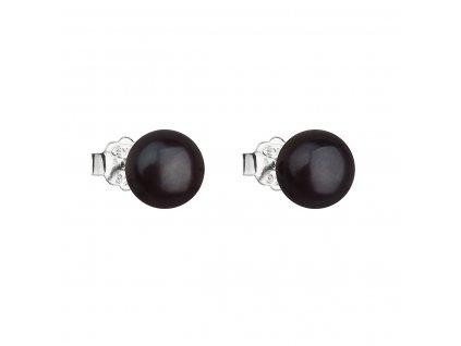 Stříbrné náušnice pecky s černou říční perlou 21042.3