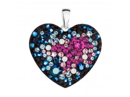 Stříbrný přívěsek s krystaly Swarovski mix barev srdce 34243.4 galaxy