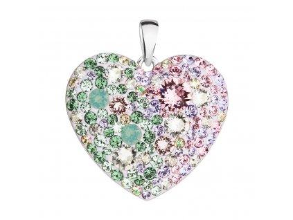 Stříbrný přívěsek s krystaly Swarovski mix barev srdce 34243.3 sakura